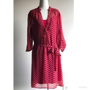 Pink slip dress w/ sheer overlay and tie belt